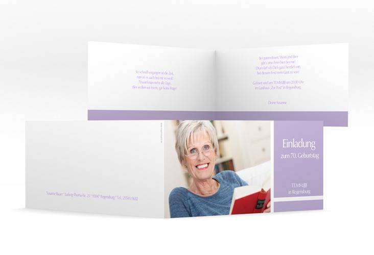 "Einladungskarte ""Gerd/Gerda"" DIN lang Klappkarte lila"