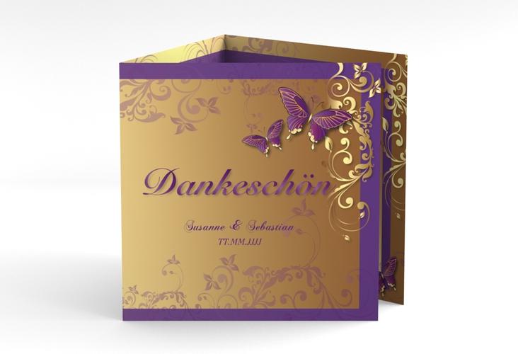 "Dankeskarte Hochzeit ""Toulouse"" Quadr. Karte doppelt lila"