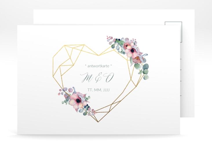 """Antwortkarte Hochzeit """"Herzgold"""" A6 Postkarte weiss"""