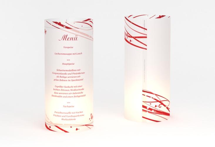 """Windlicht Menü Hochzeit """"Mailand"""" Windlicht rot"""