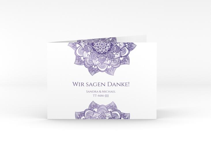 """Danksagungskarte Hochzeit """"Delight"""" A6 Klappkarte Quer lila"""