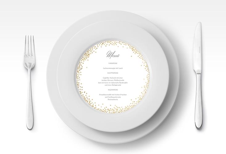 """Menükarte Hochzeit """"Glitter"""" rund"""