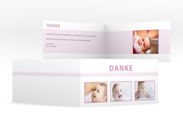 "Dankeskarte Taufe ""Happily"" DIN lang Klappkarte rosa"