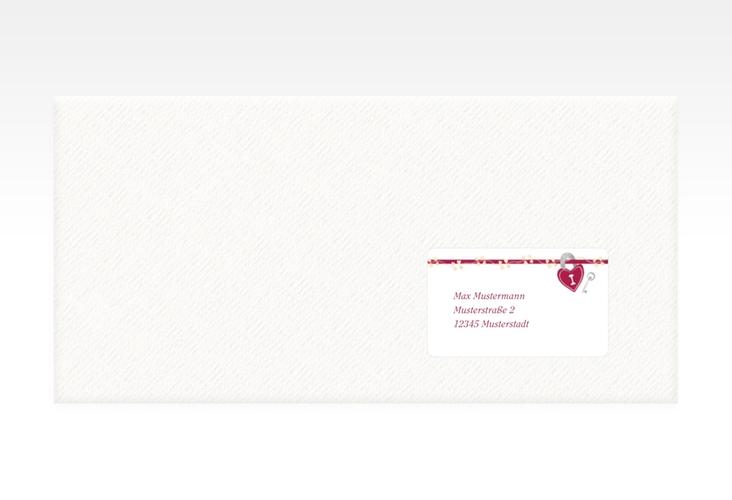"""Empfängeretikett Hochzeit """"Oviedo"""" 63,5 x 38,1 mm pink"""