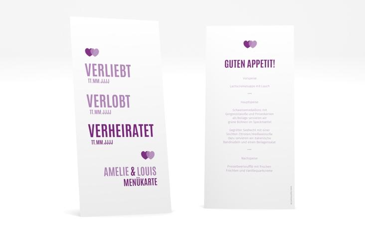 """Menükarte Hochzeit """"Couple"""" DIN lang hoch lila"""