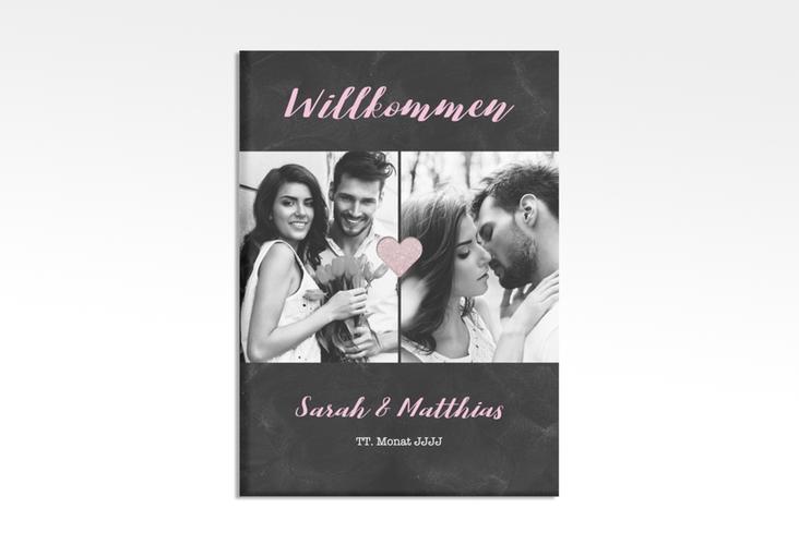 """Willkommensschild Hochzeit """"Sparkly"""" 50 x 70 cm Leinwand rosa"""