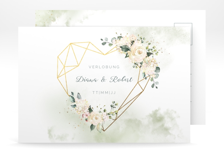 "Verlobungskarte Hochzeit ""Adore"" A6 Postkarte gruen"