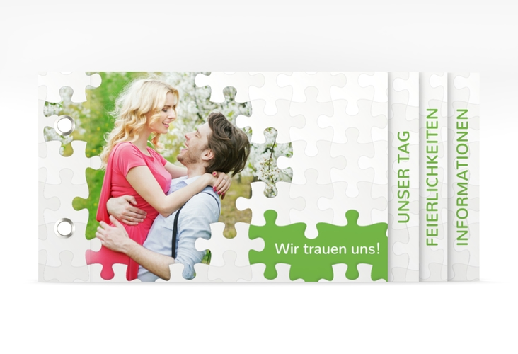 """Hochzeitseinladung """"Puzzle"""" Booklet gruen"""