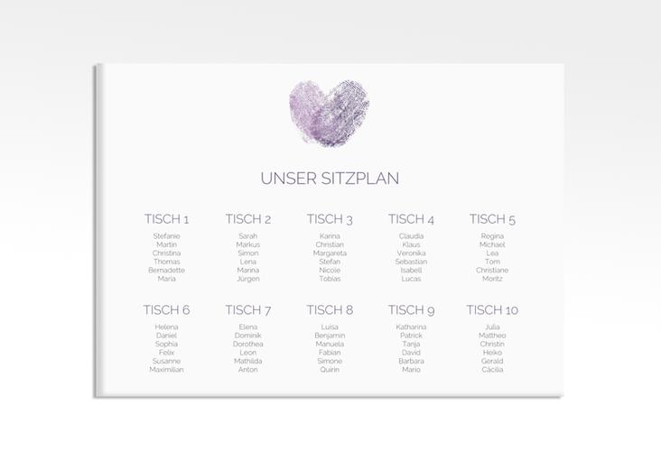 "Sitzplan Leinwand Hochzeit ""Fingerprint"" 70 x 50 cm Leinwand lila"