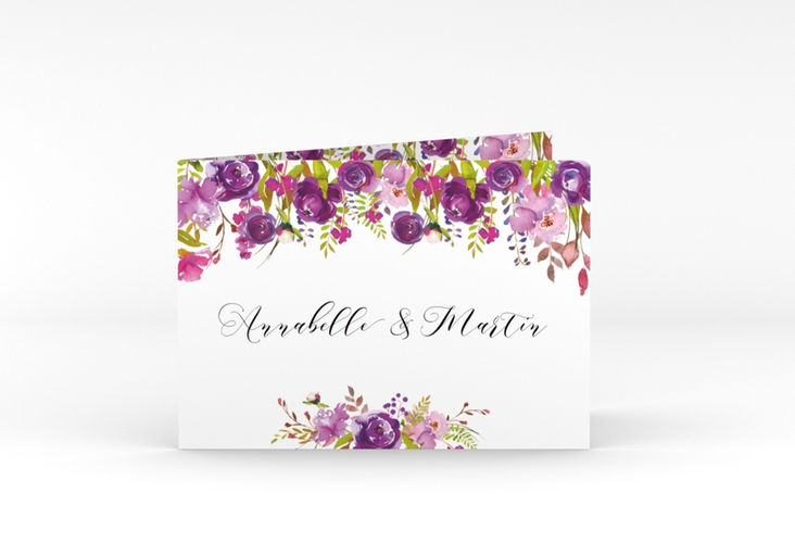 "Dankeskarte Hochzeit ""Violett"" A6 Klappkarte Quer weiss"