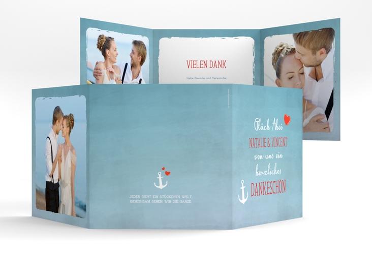 """Dankeskarte Hochzeit """"Ehehafen"""" Quadr. Karte doppelt blau"""