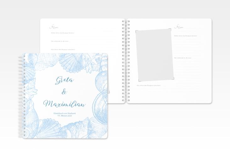 """Gästebuch Hochzeit """"Muschelreich"""" Ringbindung blau"""