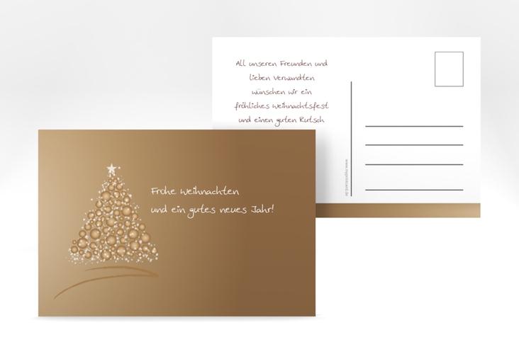 """Weihnachtskarte """"Edel"""" A6 Postkarte braun"""