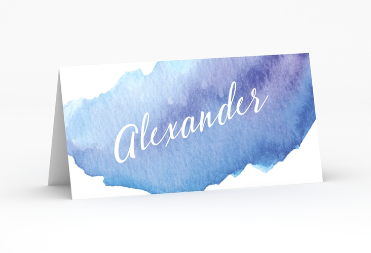 "Tischkarte Hochzeit ""Aquarella"" Tischkarten blau"