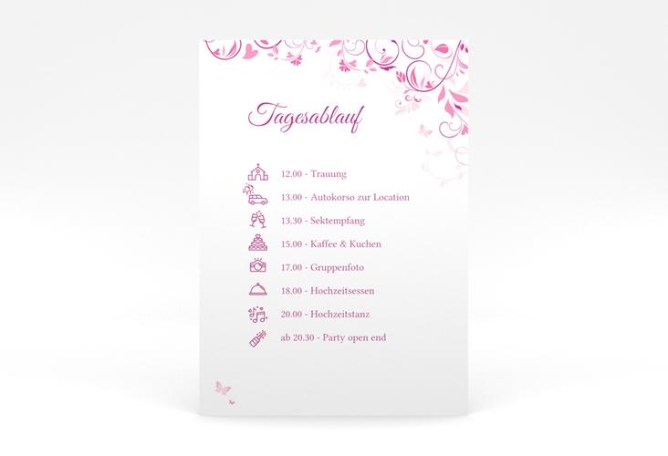 """Tagesablauf Poster Hochzeit """"Lilly"""" 50 x 70 cm Poster pink"""