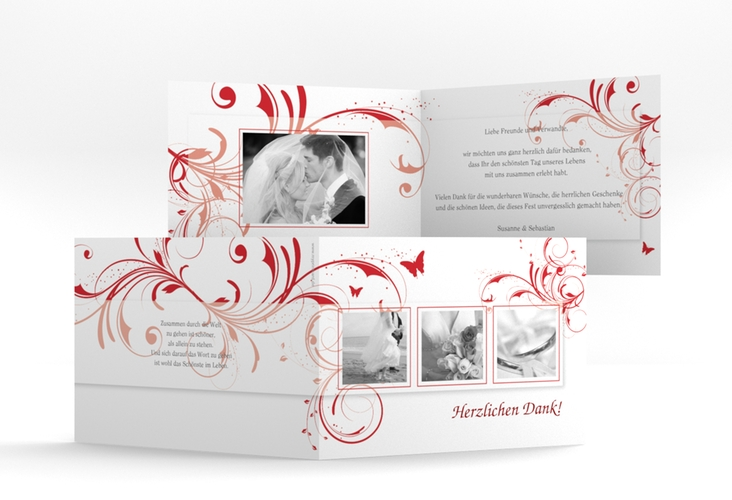 "Dankeskarte Hochzeit ""Palma"" A6 Klappkarte Quer rot"
