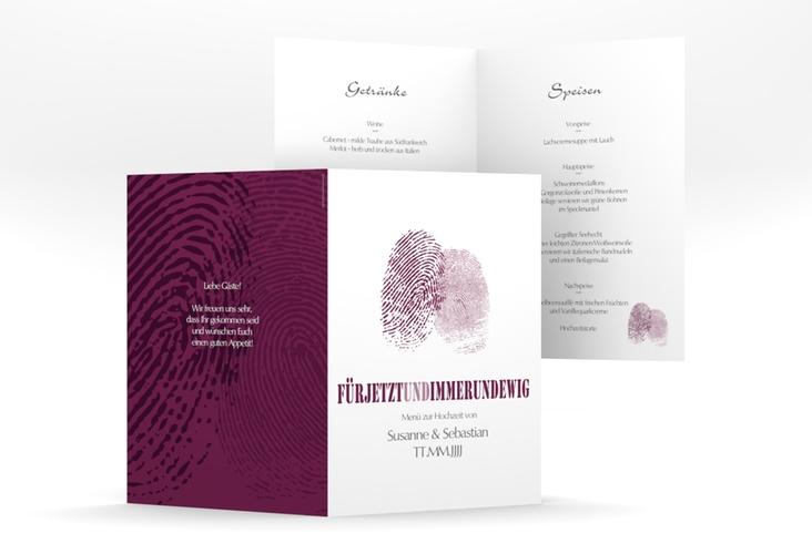 "Menükarte Hochzeit ""Messina"" DIN A5 geklappt lila"