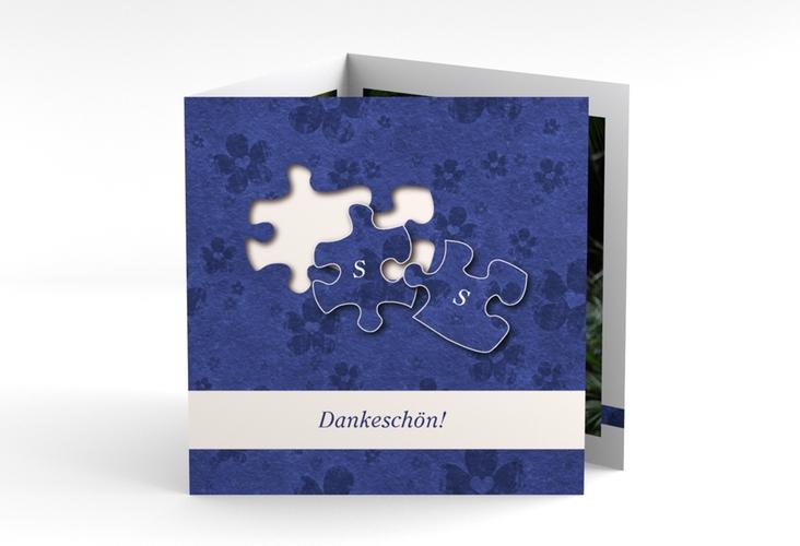 """Dankeskarte Hochzeit """"Ravensburg"""" Quadr. Karte doppelt blau"""