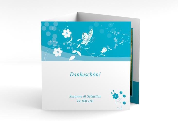 """Danksagungskarte Hochzeit """"Verona"""" Quadr. Karte doppelt tuerkis"""