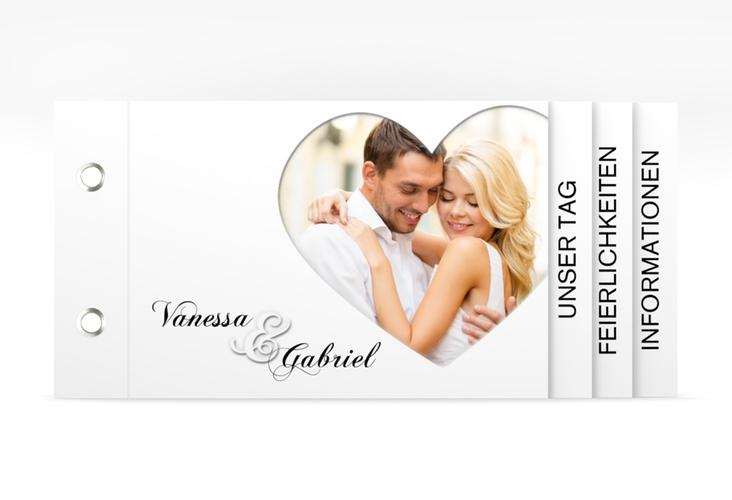 """Hochzeitseinladung """"Sweetheart"""" Booklet weiss"""