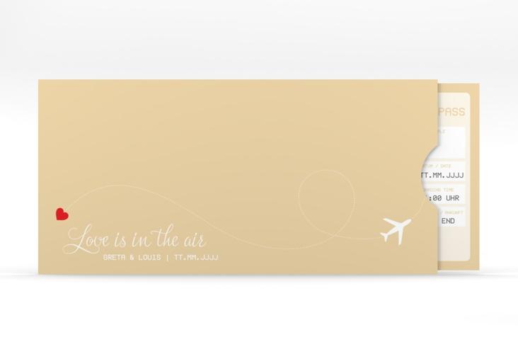 """Hochzeitseinladung """"Weddingpass"""" Einsteckkarte beige"""