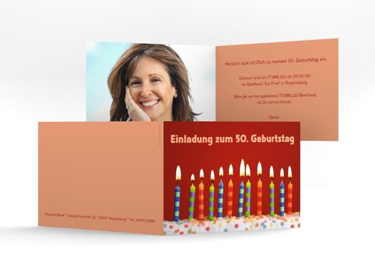 """Einladungskarte """"Candles"""" A6 Klappkarte Quer"""