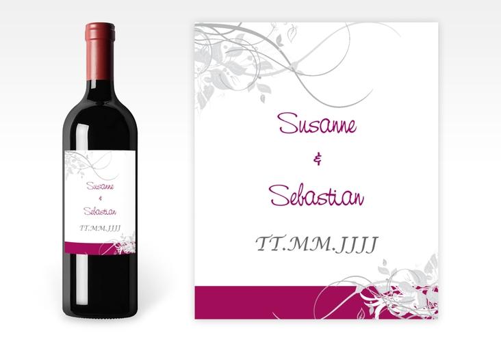 """Weinflaschenetikett Hochzeit """"Florenz"""" Etikett Weinflasche 4er Set pink"""