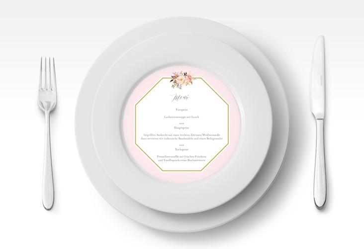 """Menükarte Hochzeit """"Prachtvoll"""" rund rosa"""