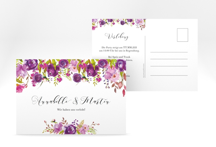 "Verlobungskarte Hochzeit ""Violett"" A6 Postkarte"