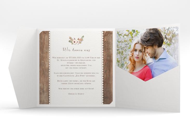 """Hochzeitseinladung """"Heimatjuwel"""" Pocketfold braun"""