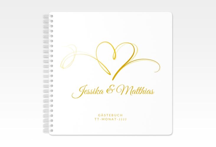 """Gästebuch Hochzeit """"Envie"""" Ringbindung gold"""