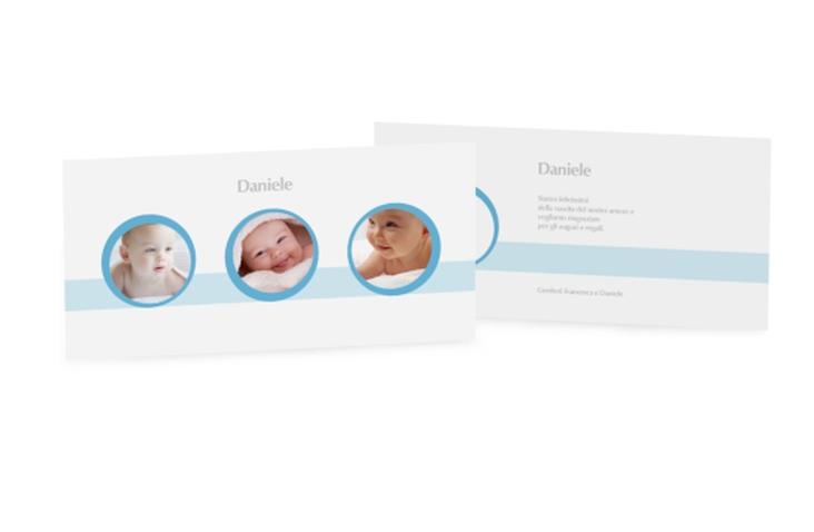 Biglietti nascita tre circoli DIN lang blu