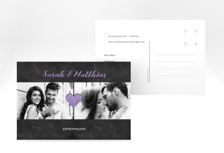 """Antwortkarte Hochzeit """"Sparkly"""" A6 Postkarte lila"""