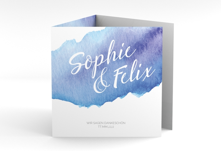 "Dankeskarte Hochzeit ""Aquarella"" Quadr. Karte doppelt blau"