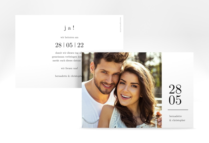 """Save the Date-Karte """"Minimal"""" A6 quer weiss"""