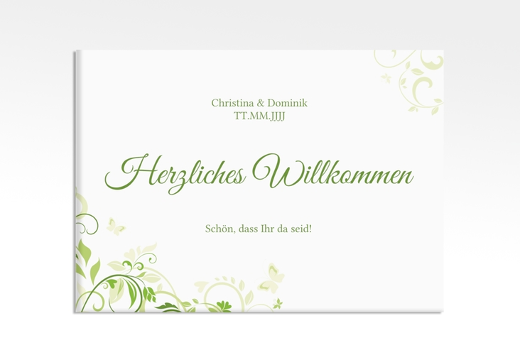 "Willkommensschild Leinwand ""Lilly"" 70 x 50 cm Leinwand gruen"
