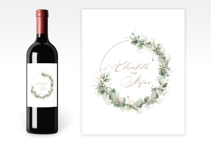 """Weinetikett zur Hochzeit """"Selvatica"""" Etikett Weinflasche 4er Set weiss"""