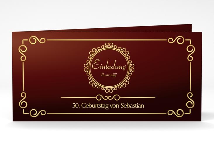 "Einladungskarte ""Bert/Berta"" DIN lang Klappkarte rot"