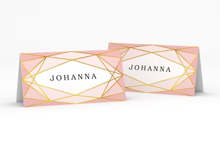 """Tischkarte Hochzeit """"Geometric"""" Tischkarten rosa"""