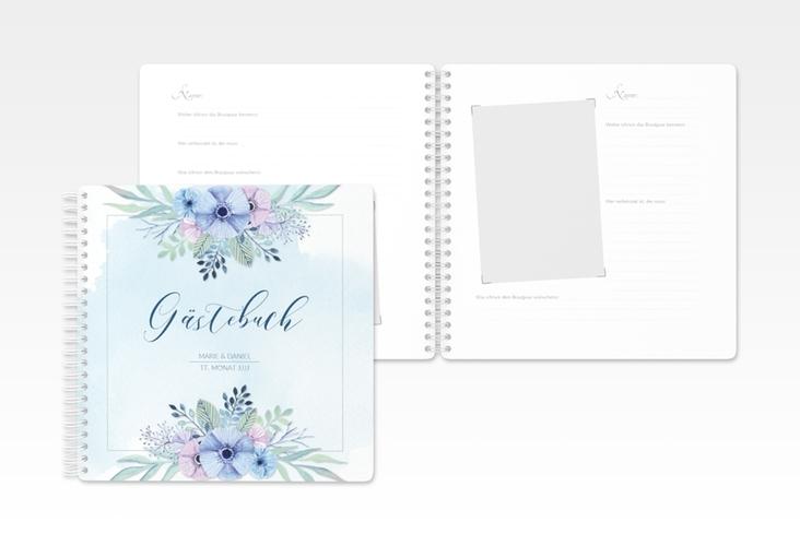 "Gästebuch Hochzeit ""Surfinia"" Ringbindung blau"