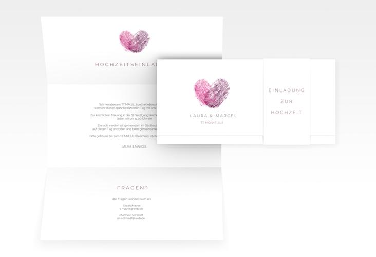 "Hochzeitseinladung ""Fingerprint"" DIN lang Wickelfalz pink"