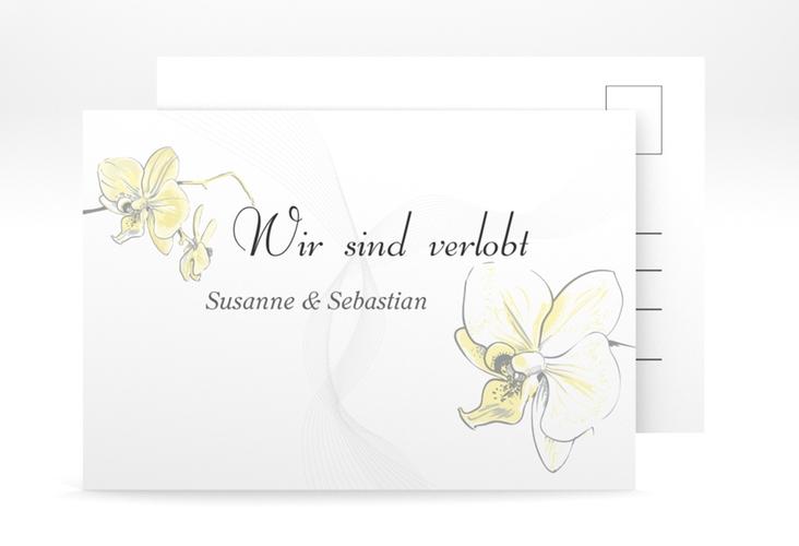 "Verlobungskarte Hochzeit ""Modena"" A6 Postkarte gelb"