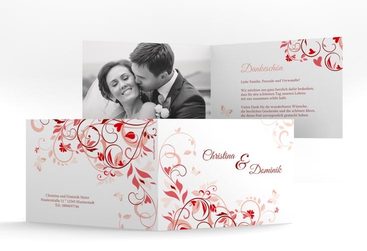 """Danksagungskarte Hochzeit """"Lilly"""" A6 Klappkarte Quer rot"""