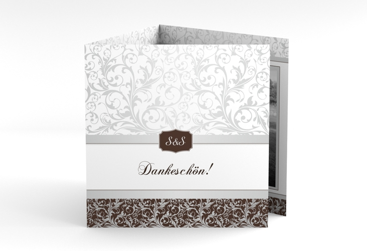 "Dankeskarte Hochzeit ""Latina"" Quadr. Karte doppelt braun"