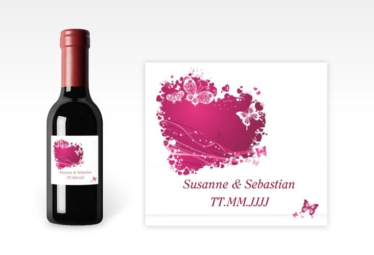 """Piccoloetikett Hochzeit """"Mailand"""" Etikett Piccolo pink"""
