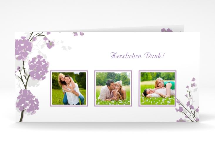 """Danksagungskarte Hochzeit """"Salerno"""" DIN lang Klappkarte flieder"""