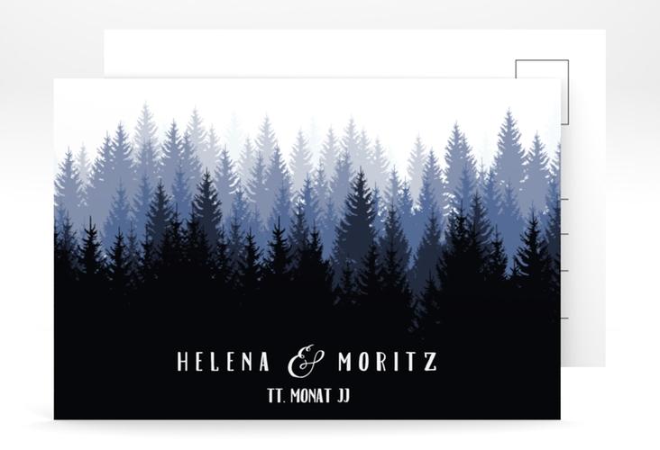 "Save the Date-Postkarte ""Forest"" A6 Postkarte blau"