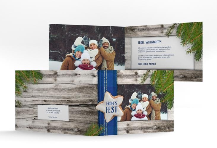Weihnachtskarte Zimtstern A6 Klappkarte Quer blau