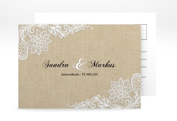 """Antwortkarte Hochzeit """"Lace"""" A6 Postkarte beige"""