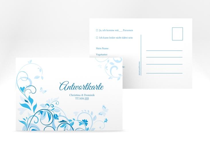 """Antwortkarte Hochzeit """"Lilly"""" A6 Postkarte blau"""